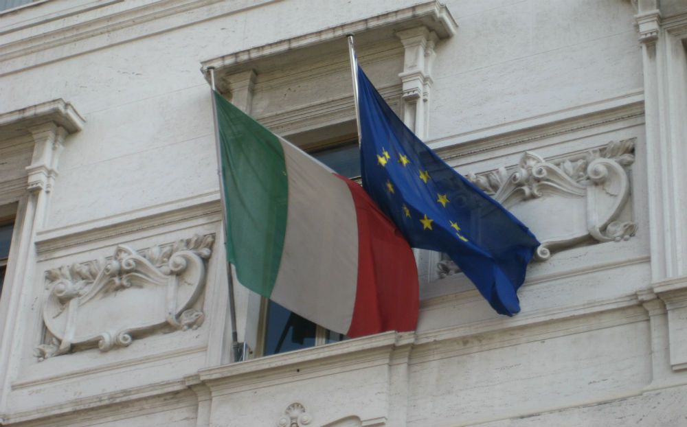 Italian and European flags