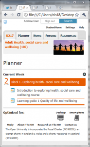 Mock-up of new mobile interface for OU course websites